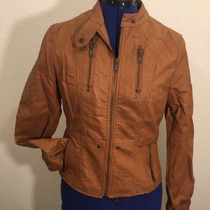 Caramel Bebe Faux Leather Zip Jacket - Medium